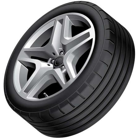 High quality vector illustration of aluminium alloy wheel, isolated on white background.