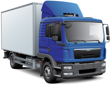High quality vector image of box truck with cabine, isolated on white background. File contains gradients, blends and transparency. No strokes. Easily edit: file is divided into logical layers and groups. 向量圖像