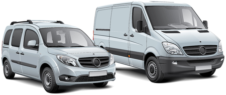 High quality vector illustration of two commercial vehicles - light goods vehicle and MPV, isolated on white background. File contains gradients, blends and transparency. No strokes. Easily edit: file is divided into logical layers and groups.