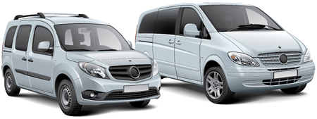 High quality vector illustration of two light commercial vehicles - passenger van and MPV, isolated on white background. File contains gradients, blends and transparency. No strokes. Easily edit: file is divided into logical layers and groups.