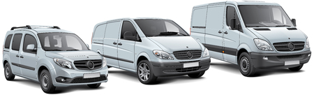 High quality vector illustration of three light commercial vehicles, isolated on white background. File contains gradients, blends and transparency. No strokes. Easily edit: file is divided into logical layers and groups. 版權商用圖片