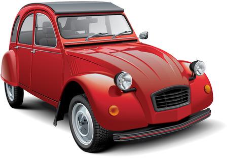 Hoogwaardige vector illustratie van een vintage economie auto, geïsoleerd op een witte achtergrond. Het bestand bevat gradiënten, overvloeiingen en transparantie. Geen slagen. Eenvoudig bewerken: bestand is verdeeld in logische lagen en groepen. Houd er rekening mee dat niet alle vectorgrafi Stockfoto - 80934586