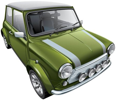 High quality vector illustration of iconic British city car, isolated on white background. File contains gradients, blends and transparency. No strokes. Easily edit: file is divided into logical layers and groups. Ilustração