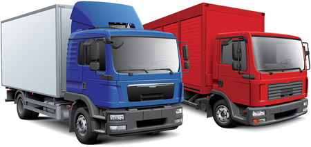 High quality vector image of two European box trucks, isolated on white background. File contains gradients, blends and transparency. No strokes. Easily edit: file is divided into logical layers and groups.