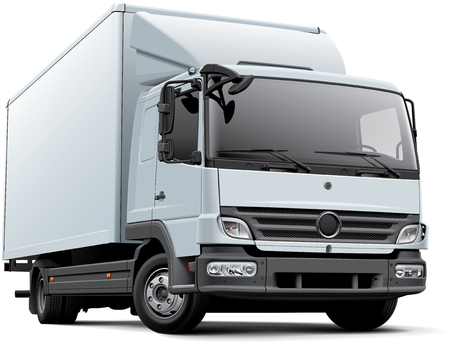 High quality vector image of white European delivery truck, isolated on white background. File contains gradients, blends and transparency. No strokes. Easily edit: file is divided into logical layers and groups. Иллюстрация