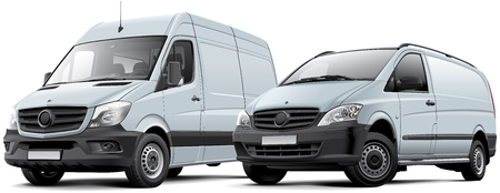 graphic: High quality vector illustration of two commercial vehicles - full-size van and light van, isolated on white background. File contains gradients, blends and transparency. No strokes. Easily edit: file is divided into logical layers and groups.