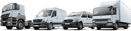 High quality vector illustration of typical European commercial vehicles lineup ? box truck, full-size delivery goods van, compact panel van and freight vehicle, isolated on white background. Files contains gradients, blends and transparency. No strokes.  版權商用圖片