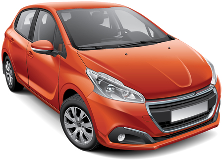 High quality vector illustration of French compact hatchback, isolated on white background.