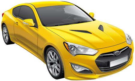 High quality vector illustration of Korean sports coupe, isolated on white background. File contains gradients, blends and transparency. No strokes. Easily edit: file is divided into logical layers and groups.