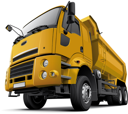 High quality vector illustration of typical modern ?ab-over dump truck, isolated on white background. File contains gradients, blends and transparency. No strokes. Easily edit: file is divided into logical layers and groups.