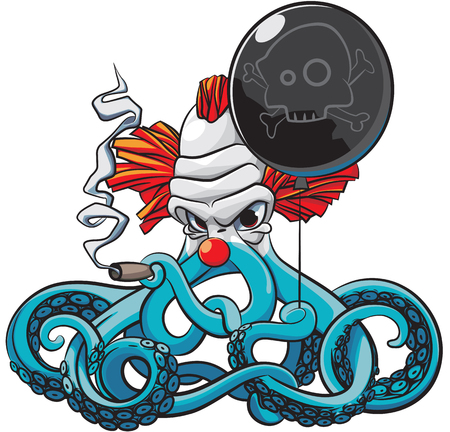 Vector colourful illustration of octopus the angry clown smoking cigar with black balloon in his tentacles, isolated on white background. File doesnt contains gradients, blends, transparency and strokes or other special visual effects. You can open this