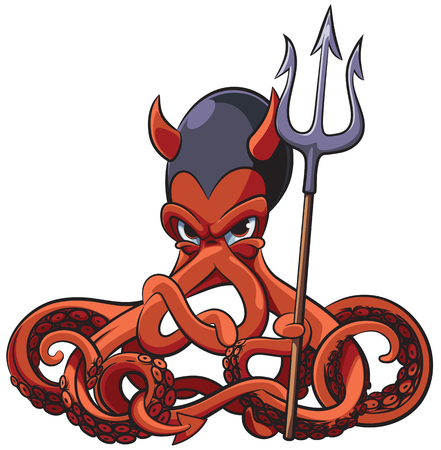 Vector colourful illustration of octopus in Devils costume and with pitchfork in his tentacles, isolated on white background. File doesnt contains gradients, blends, transparency and strokes or other special visual effects. You can open this file with any vector graphics editors. Illustration