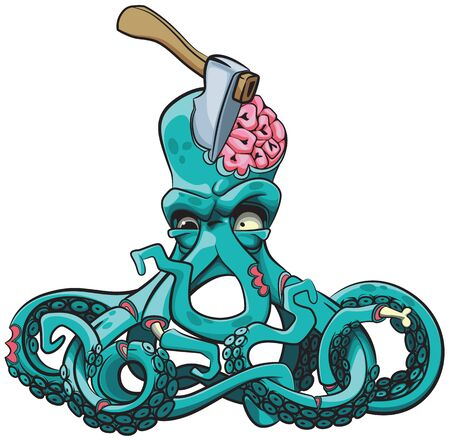 Vector colourful illustration of ugly octopus zombie with axe in his head. Illustration