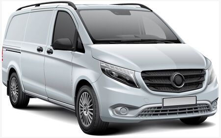 High quality vector illustration of white European light commercial van, isolated on white background. File contains gradients, blends and transparency. No strokes. Easily edit: file is divided into logical layers and groups.