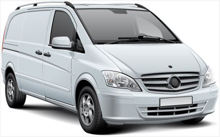 High quality vector illustration of white European delivery vehicle, isolated on white background. File contains gradients, blends and transparency. No strokes. Easily edit: file is divided into logical layers and groups. Illustration