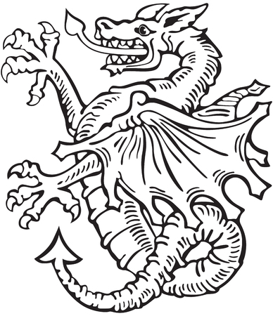 A Vectorial pictogram of most heraldic monster - dragon, executed in style of gravure on wood. No dlends, gradients and strokes.