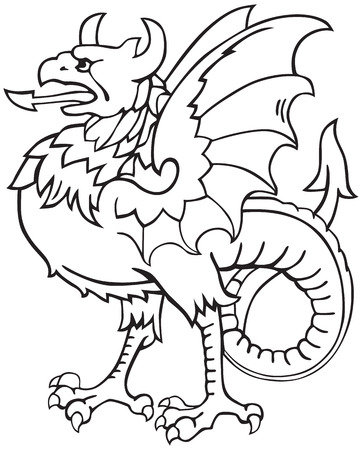 A pictogram of most heraldic monster - dragon, executed in style of gravure on wood. No dlends, gradients and strokes.