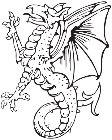 most heraldic monster - dragon, executed in style of gravure on wood. No blends, gradients, and strokes. 向量圖像