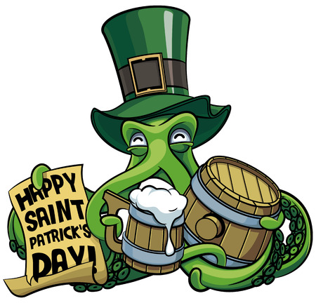Vector colourful illustration of octopus in top hat celebrating Patricks Day with mug of beer and paper poster in his tentacles, isolated on white background. File doesnt contains gradients, blends, transparency and strokes or other special visual effects. You can open this file with any vector graphics editors.
