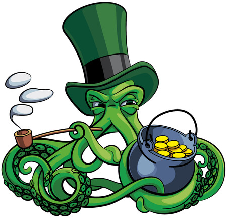 Vector colorful illustration of octopus the suspicious leprechaun in top hat with pot of money and tobacco pipe in his tentacles. Isolated on white background. File doesnt contains gradients, blends, transparency and strokes or other special visual effects. You can open this file with any vector graphics editors.
