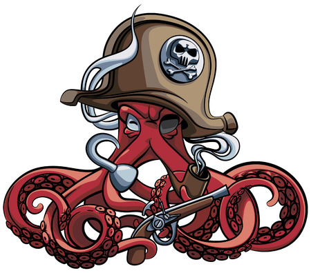 Vector colourful illustration of one-eyed octopus in the tricorn with pistol and tobacco pipe in his tentacles, isolated on white background. File doesnt contains gradients, blends, transparency and strokes or other special visual effects. You can open this file with any vector graphics editors. 向量圖像
