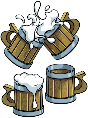 Vector colourful illustration of wooden beer mugs, isolated on white background. File doesnt contains gradients, blends, transparency and strokes or other special visual effects. You can open this file with any vector graphics editors. Illustration