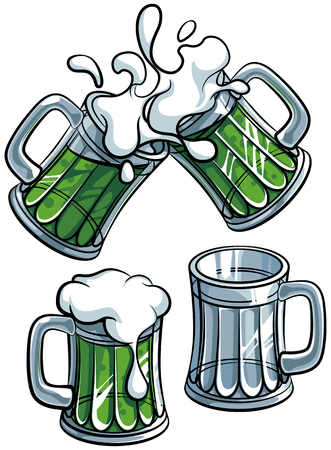 A Vector colorful illustration of beer glasses with green beverage, isolated on white background.