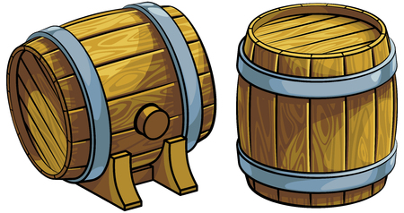 A Vector colourful illustration of two wooden barrels, isolated on white background. Illustration