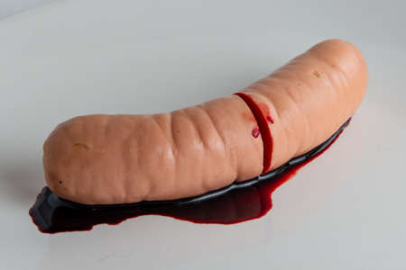 refusal to eat animal meat, concept: bleeding sausage on a white plate, short focus