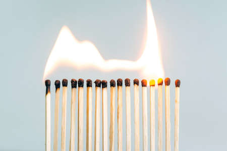 row of wooden matches, the fire swiftly moves from match to match