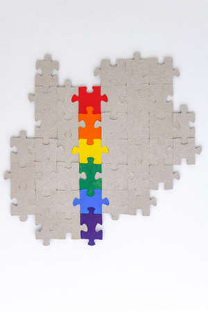 LGBT pride flag, built from a puzzle, among gray puzzles, short focus, on a white background, top view