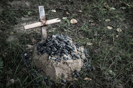 the grave of the family's beloved pet, a sand mound and a hand-made wooden cross Фото со стока
