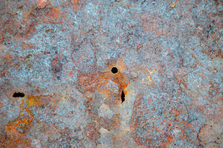 grunge background: rust on old painted metal surface, corrosion of steel, toning
