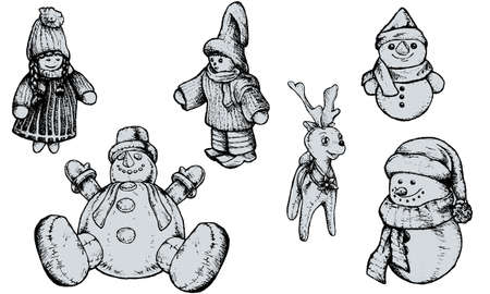 puppets: Christmas Puppets - Hand Drawn Illustration