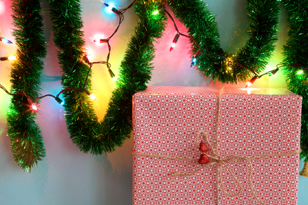 Christmas gift box on background