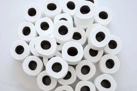 Rolls of toilet paper isolated on white 版權商用圖片