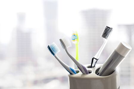 Toothbrushes Dental and healthcare concept. Banque d'images