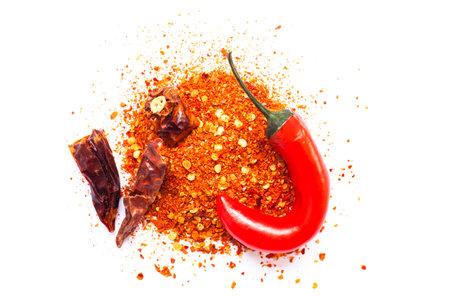 Chili, red pepper flakes and chili powder burst