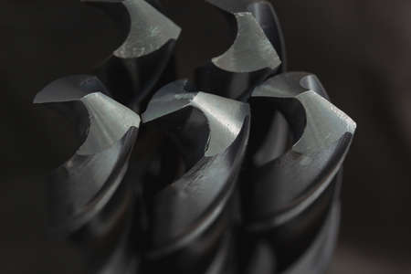 Close up, many metal drill bits in the store,concept is business object background, drill bits for steel ,macro object