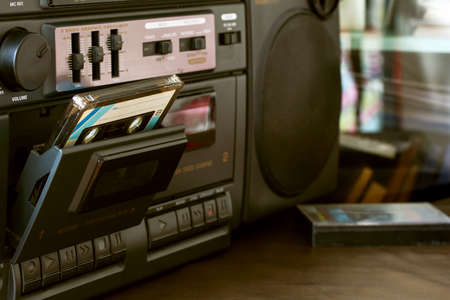 80'S vintage cassette recorder radio and cassette tape , can usable,black radio