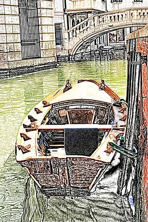 channel: Venice, boat moored in the channel Stock Photo