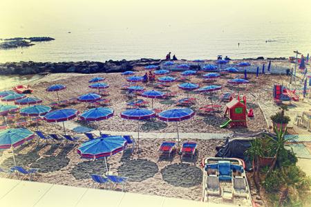 sanremo: Sanremo, umbrellas on the beach Stock Photo