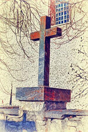 kruzifix: Monument, Kruzifix aus Stein Lizenzfreie Bilder