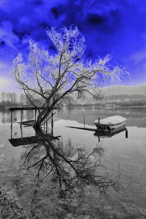hallucination: Hallucination, boating on the lake Stock Photo