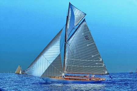 hallucination: Hallucination, seascape with sailboat Stock Photo
