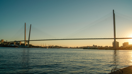 Panoramic view of cable stayed bridge on the sunset Banco de Imagens