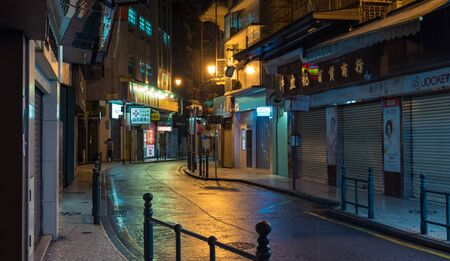 Night view of old building and street at Macau, China
