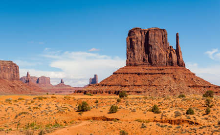 Monument Valley under the blue sky