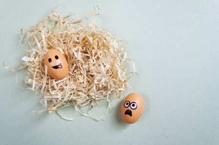 preservation: Funny Easter eggs with drawn faces depicting various emotions