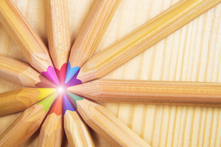 sharpened: Crayons. Colored Pencils. Colored pencils as background. Stock Photo